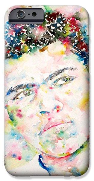 Boxer iPhone Cases - MUHAMMAD ALI - watercolor portrait.1 iPhone Case by Fabrizio Cassetta