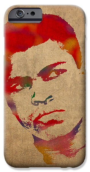 Sport Portraits Mixed Media iPhone Cases - Muhammad Ali Watercolor Portrait on Worn Distressed Canvas iPhone Case by Design Turnpike