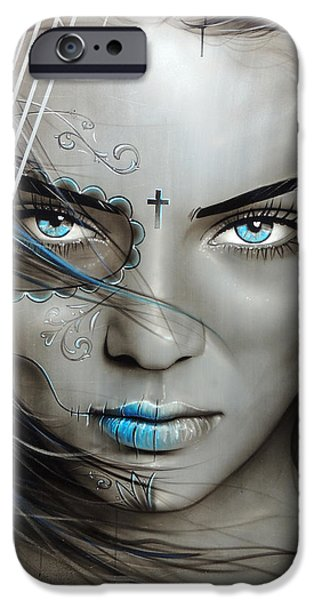 Model iPhone Cases - Mujeres De Ojos Azules iPhone Case by Christian Chapman Art
