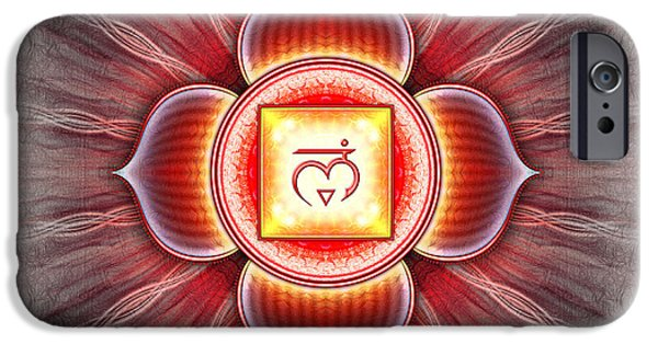 Healing Posters iPhone Cases - Muladhara Chakra Series IV iPhone Case by Dirk Czarnota