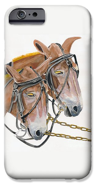 Agriculture iPhone Cases - Mules - Two - Beast of Burden iPhone Case by Jan Dappen