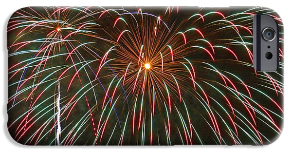 4th July Photographs iPhone Cases - 4th of July Fireworks 16 iPhone Case by Howard Tenke