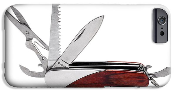 Work Tool Photographs iPhone Cases - Multi Purpose Pocket Knife Isolated on White iPhone Case by Donald  Erickson