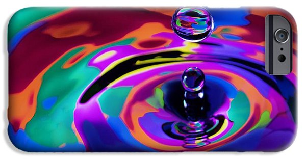 Abstract Digital Pastels iPhone Cases - Multicolor Water Droplets 1 iPhone Case by Imani  Morales