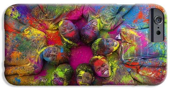 Festivities iPhone Cases - Multicoloured boys iPhone Case by Tim Gainey