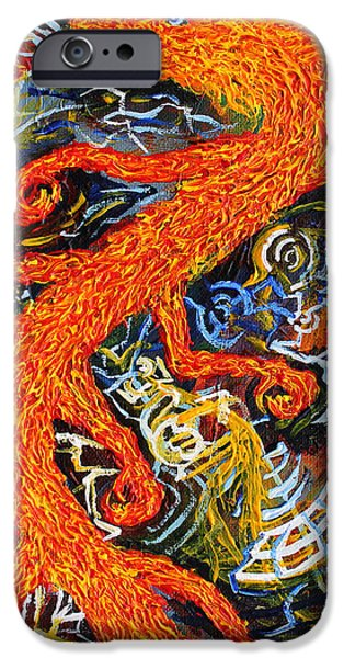 Mechanism Paintings iPhone Cases - Multidimensional Flaming Serpent iPhone Case by Maxwell Hanson
