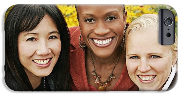 Toothy Smile iPhone Cases - Multiethnic Portrait Of Three Women iPhone Case by Christine Mariner