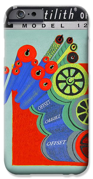 Copy Machine iPhone Cases - Multilith 1250 ink rollers cylinders iPhone Case by Jack Pumphrey