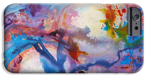 Deep Space Art Paintings iPhone Cases - Multiverse iPhone Case by Jacki Wright