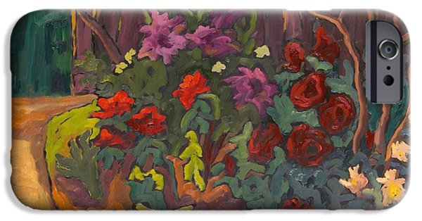 Floral Photographs iPhone Cases - Mums Garden, 2003 Oil On Board iPhone Case by Marta Martonfi-Benke