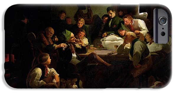 Interior Scene iPhone Cases - Munchhausen Tells His Hunting Tales, 1842 Oil On Panel iPhone Case by Adolf Schrodter