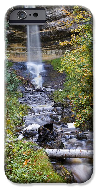 Creek iPhone Cases - Munising Falls iPhone Case by Jack R Perry