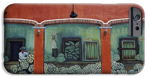 Built Structure iPhone Cases - Mural On A Wall, Cancun, Yucatan, Mexico iPhone Case by Panoramic Images