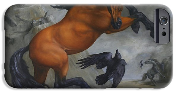 Equestrian iPhone Cases - Murder of Crows iPhone Case by Lisa Phillips Owens