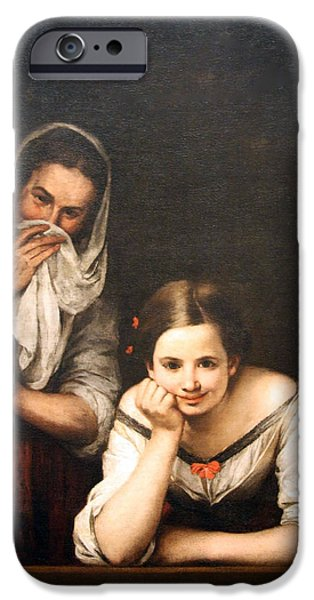 Cora Wandel iPhone Cases - Murillos Two Women At A Window iPhone Case by Cora Wandel