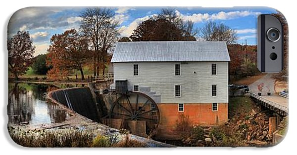 Grist Mill iPhone Cases - Murrays Grist Mill Afternoon Panorama iPhone Case by Adam Jewell