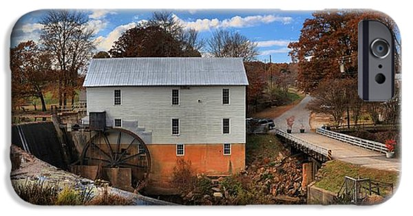 Grist Mill iPhone Cases - Murrays Mill Town Panorama iPhone Case by Adam Jewell