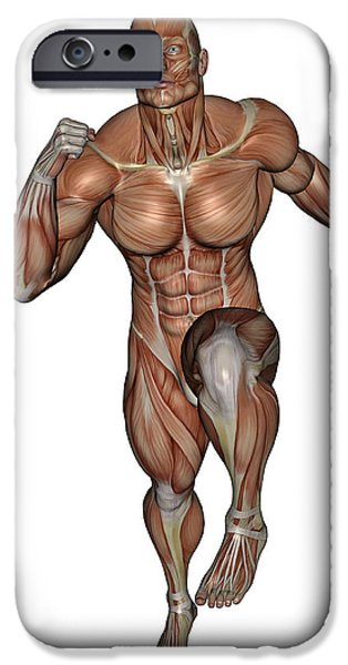 Muscular Digital iPhone Cases - Muscular Man Running iPhone Case by Elena Duvernay