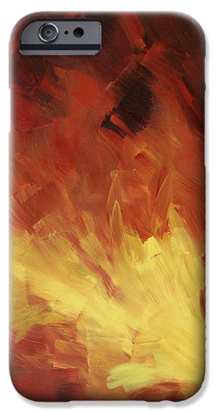 Flames Paintings iPhone Cases - Muse In The Fire 2 iPhone Case by Sharon Cummings