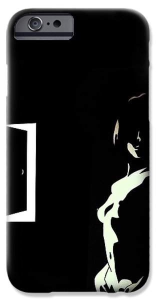 Monotone Drawings iPhone Cases - Muse in Wait iPhone Case by Jerrett Dornbusch