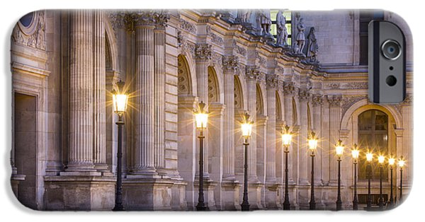 Night Lamp iPhone Cases - Musee du Louvre Lamps iPhone Case by Brian Jannsen