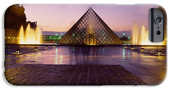 Night Lamp iPhone Cases - Museum Lit Up At Night With Ghosted iPhone Case by Panoramic Images