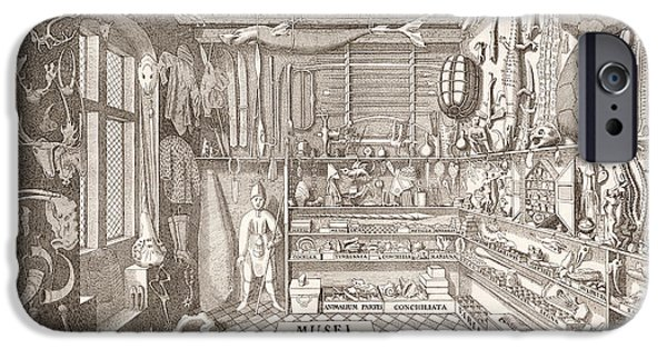 Museum iPhone Cases - Museum Of Ole Worm, Leiden, 1655 Engraving iPhone Case by G. Wingendorp