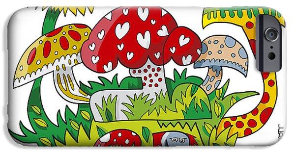 Ramspott iPhone Cases - Mushroom Doodle Nature iPhone Case by Frank Ramspott