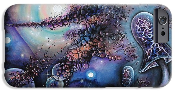 Outer Space Paintings iPhone Cases - Mushroom Evolution iPhone Case by Krystyna Spink