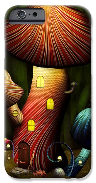Suburban Digital Art iPhone Cases - Mushroom - Magic Mushroom iPhone Case by Mike Savad