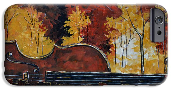 Autumn Landscape Mixed Media iPhone Cases - Music and Nature iPhone Case by Vickie Warner