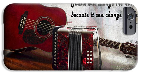 Cabin Corner iPhone Cases - Music can Change the World - Guitar - Accordion iPhone Case by Barbara Griffin