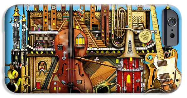 Piano iPhone Cases - Music Castle iPhone Case by Colin Thompson