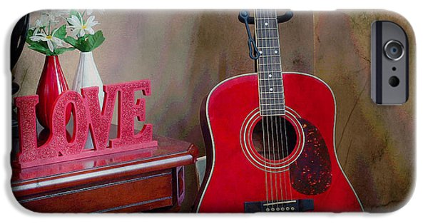 Cabin Corner iPhone Cases - Music Corner - Guitar -  Accordion iPhone Case by Barbara Griffin