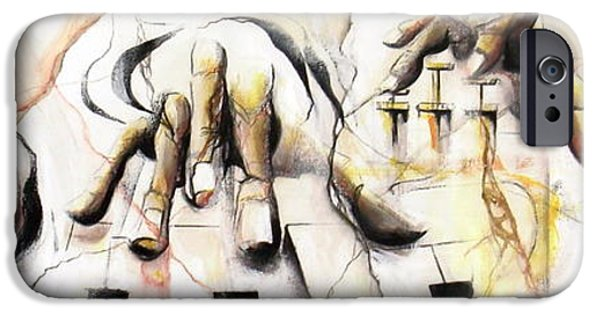 Piano iPhone Cases - Music-hands fresco style iPhone Case by Philip Gaida