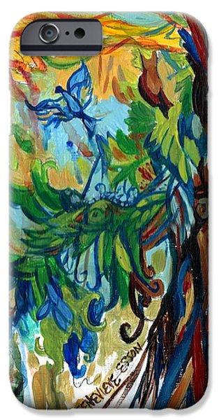 Red Abstract iPhone Cases - Music In Bird Of Tree iPhone Case by Genevieve Esson