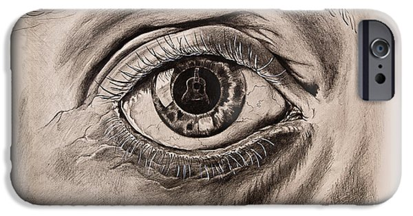 Musican Drawings iPhone Cases - Music in the Eye iPhone Case by Art Imago