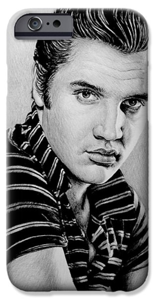 1950s Movies iPhone Cases - Music Legends Elvis iPhone Case by Andrew Read