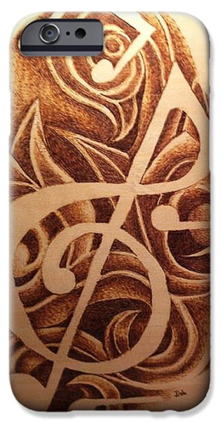 Sheets Pyrography iPhone Cases - Music Love iPhone Case by Dale Bradley