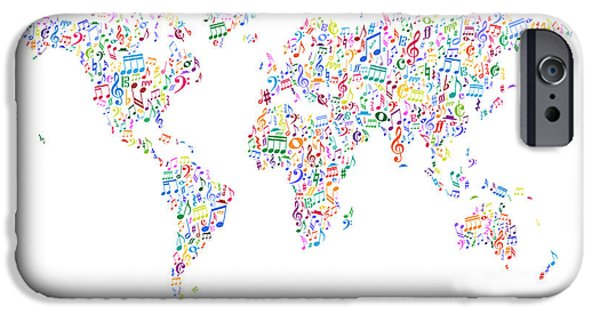 World Map Poster Digital Art iPhone Cases - Music Notes Map of the World iPhone Case by Michael Tompsett