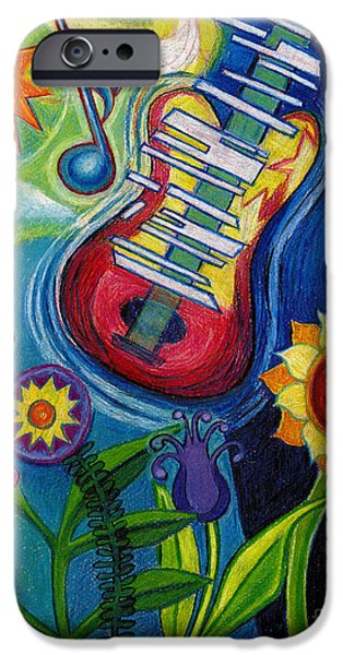 Genevieve Esson iPhone Cases - Music On Flowers iPhone Case by Genevieve Esson
