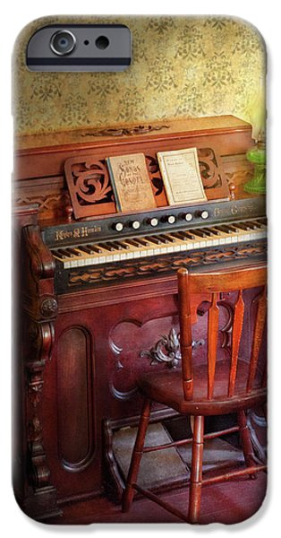 Music - Organist - Playing the songs of the gospel  iPhone Case by Mike Savad
