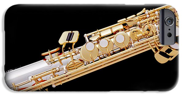 Soprano iPhone Cases - Music Photograph of Soprano Saxophone in Color 3341.02 iPhone Case by M K  Miller