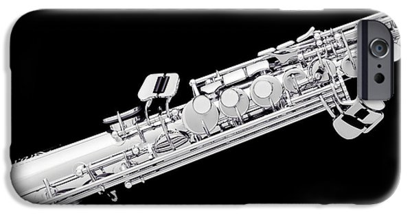 Soprano iPhone Cases - Music Photograph of Soprano Saxophone in Sepia 3341.01 iPhone Case by M K  Miller