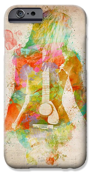 Melody Digital Art iPhone Cases - Music Was My First Love iPhone Case by Nikki Marie Smith