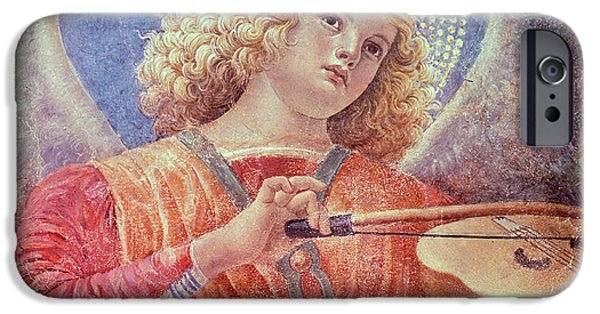Music iPhone Cases - Musical Angel with Violin iPhone Case by Melozzo da Forli