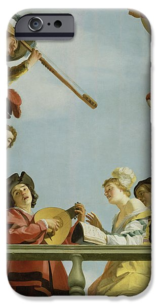 Lute Paintings iPhone Cases - Musical Group on a Balcony iPhone Case by Gerrit van Honthorst