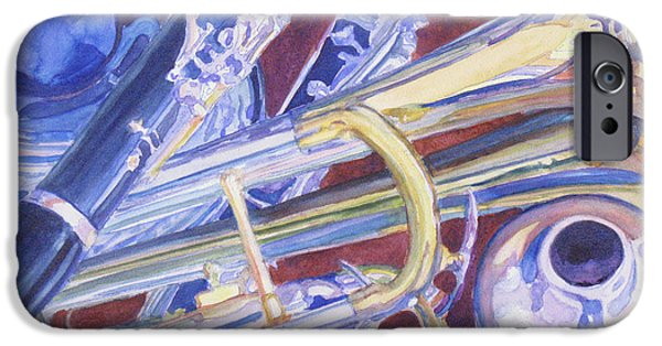 Trumpet Paintings iPhone Cases - Musical Reflections iPhone Case by Jenny Armitage