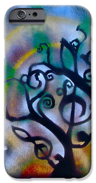 First Amendment Paintings iPhone Cases - Musical tree Blue iPhone Case by Tony B Conscious