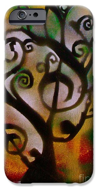 Musical Tree Golden iPhone Case by TONY B CONSCIOUS